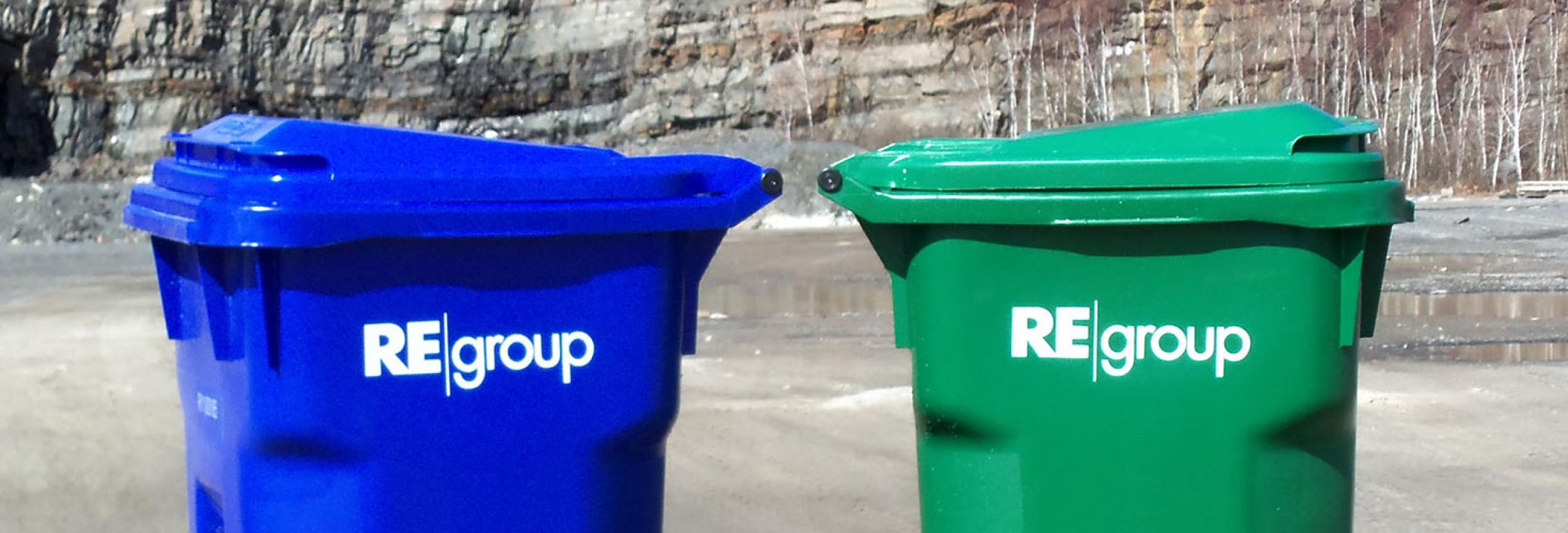 Blue and Green toter bins